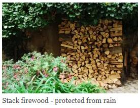 Stack firewood - protected from rain